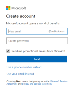 Get a new outlook email address