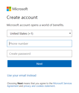 Create hotmail account with existing mobile number